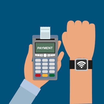 Dataphone in the hand with receipt and smartwatch transaction