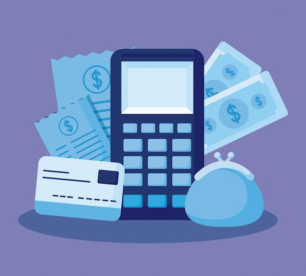 Dataphone with set icons economy finance