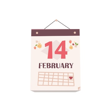 Date 14th february on monthly calendar valentines day celebration concept greeting card banner invitation poster illustration