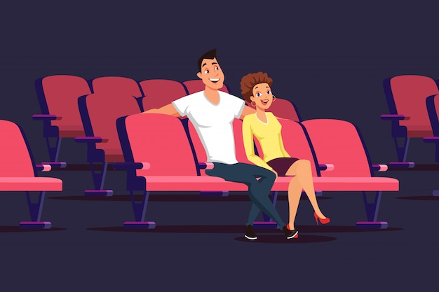 Date in cinema flat illustration isolated on dark, young couple watching movie
