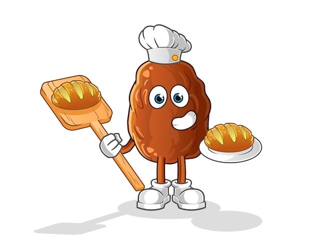 Date fruit baker with bread cartoon