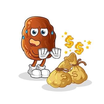 Date fruit refuse money illustration