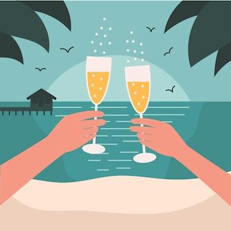 해변에서 데이트. 휴식과 휴식의 휴가 개념.
