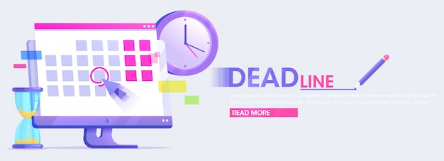 Dates and deadlines banner. computer with calendar, clock and hourglass.  flat