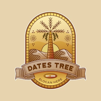 Dates tree in the desert badge illustration