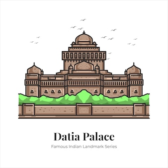 Dataia 궁전 인도의 유명한 상징적인 랜드마크 만화 라인 아트 그림