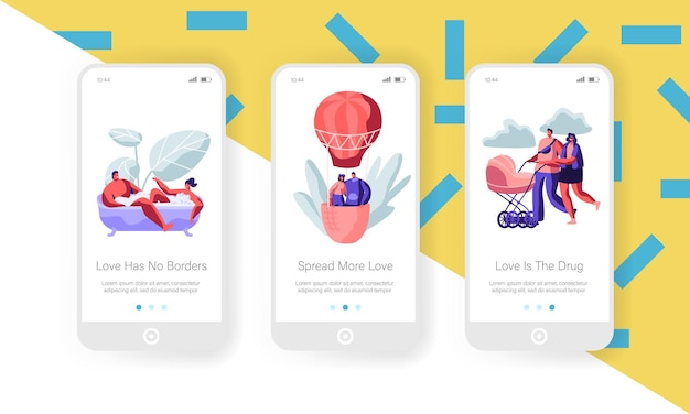 데이트 및 가족 개념. 모바일 앱 페이지 온보드 화면 세트