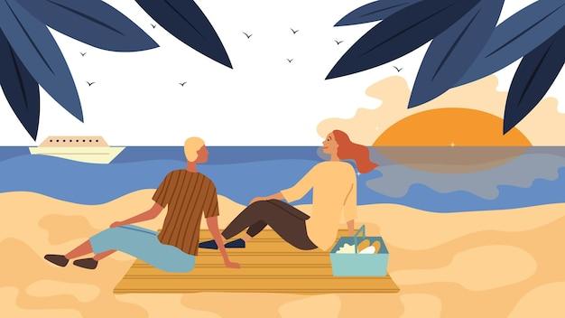 デートとハネムーンのコンセプト。愛するカップルは海岸でピクニックをします。人々はコミュニケーションを取り、一緒に時間を過ごし、海沿いのビーチで夕日を楽しみます。