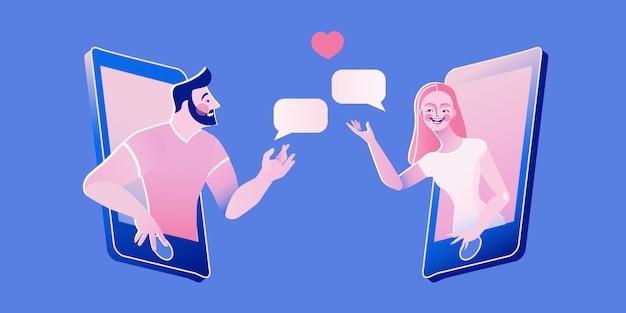 데이트 앱, 응용 프로그램 또는 채팅 개념 그림