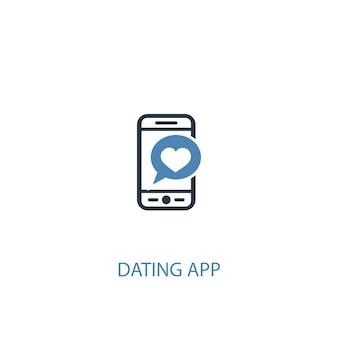 데이트 앱 개념 2 컬러 아이콘입니다. 간단한 파란색 요소 그림입니다. 데이트 앱 컨셉 심볼 디자인. 웹 및 모바일 ui/ux에 사용 가능