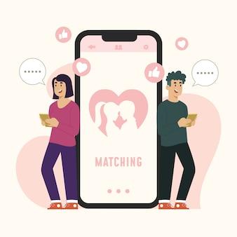 데이트 앱 컨셉 채팅 및 매칭 프리미엄 벡터