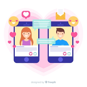 Dating app concept flat design