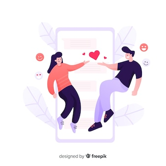 Dating app concept flat design
