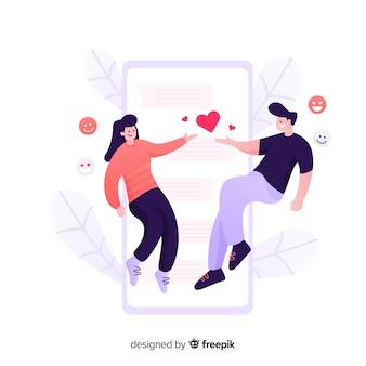 데이트 응용 프로그램 개념 평면 디자인