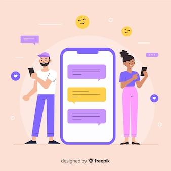 사람들이 친구와 사랑을 찾을 수있는 데이트 앱 개념