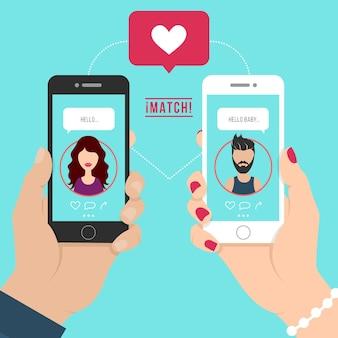 男と女のイラストがアプリの概念図をデート