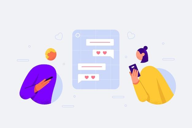 평면 디자인의 데이트 앱 개념