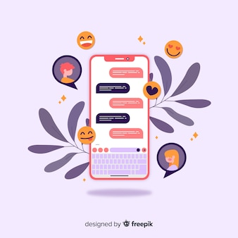 Dating app concept with chat and emojis