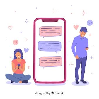 소녀와 소년 캐릭터와 데이트 응용 프로그램 개념