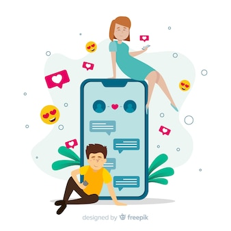 Dating app concept with girl and boy
