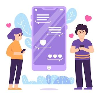男と女とデートのアプリのコンセプト