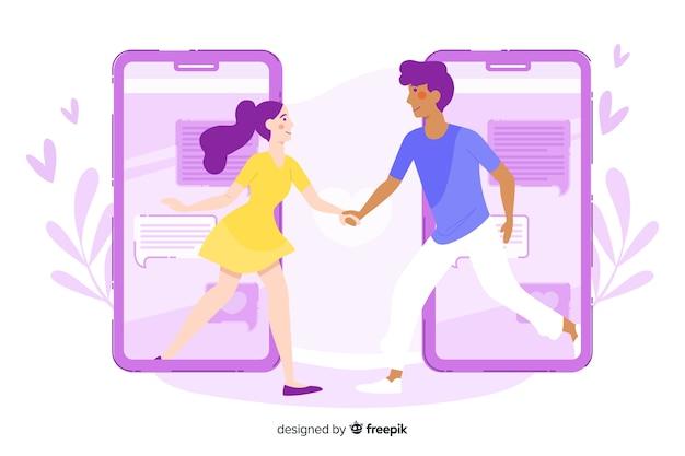 사람들이 손을 잡고 데이트 앱 개념