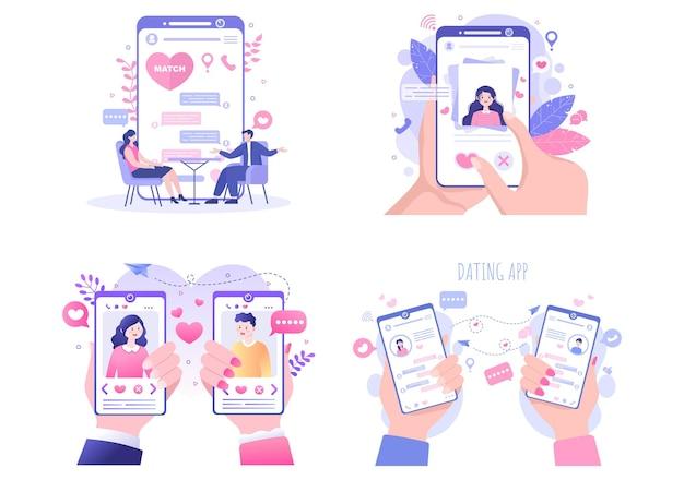데이트 앱 플랫 디자인 일러스트레이션