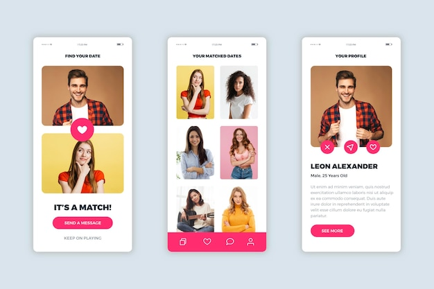 Dating app interface design