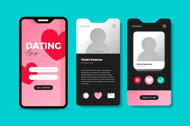 携帯電話用の出会い系アプリのインターフェース