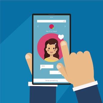 イラスト付きの出会い系アプリのインターフェース