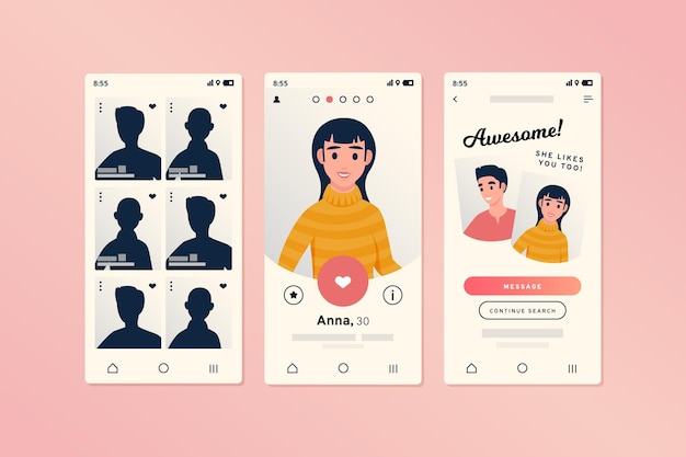 Dating app interface for smartphones