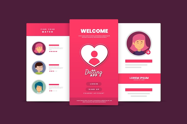 Dating app interface template