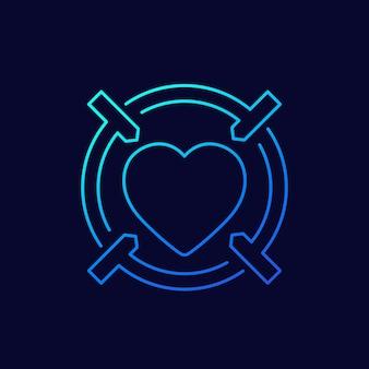 데이트 앱 선형 아이콘, 심장 및 십자형
