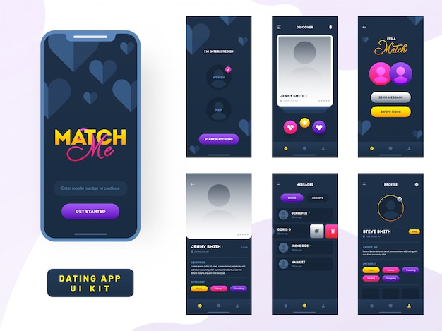 Dating app mobile app ui.