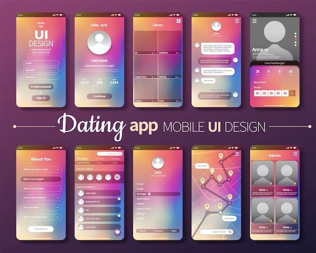 レーザーグラデーションの背景を持つ出会い系アプリのモバイルuiデザイン