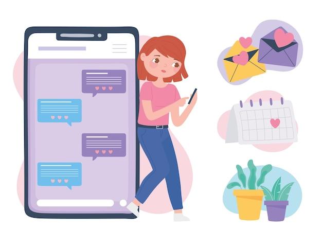 電話での出会い系アプリ、オンラインコミュニケーションと接続、ロマンチックな関係のベクトル図