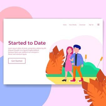 Dating app social media illustration landing page