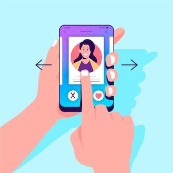 Concetto di scorrimento dell'app di incontri