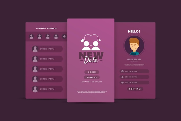 Dating app template interface