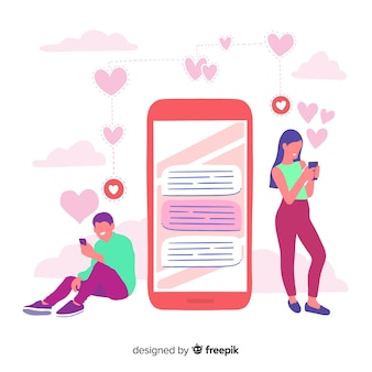 Dating application concept illustrated