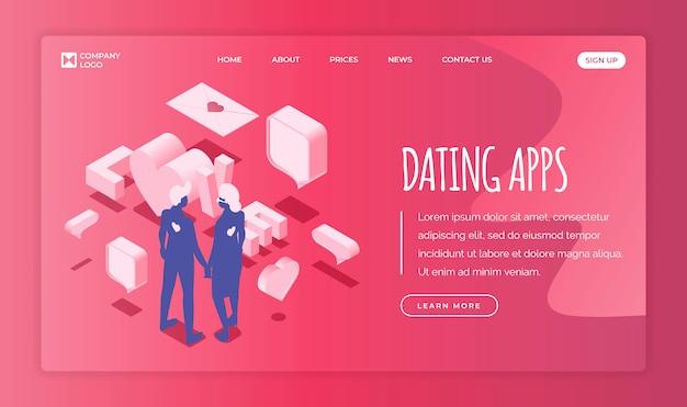 テキストスペースを使用したデートアプリケーションのランディングページテンプレート。手を繋いでいる愛のカップル。