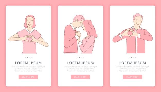 出会い系アプリのモバイルアプリ画面。ロマンチックな愛の物語、バレンタインデーのウェブサイトテンプレート。