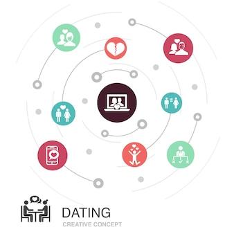 シンプルなアイコンで色付きの円の概念をデート。恋愛カップル、恋愛、出会い系アプリ、関係などの要素が含まれています