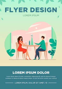Dating couple enjoying romantic dinner. young man and woman sitting at restaurant table, drinking wine. vector illustration for relationship, love, anniversary concept