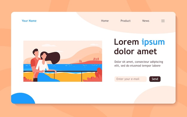 Dating couple enjoying vacation by sea. man and woman hugging on beach flat  landing page. tourism, leisure, summer concept for banner, website design or landing web page