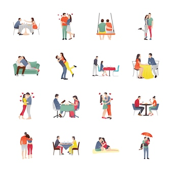 Dating couples icons set