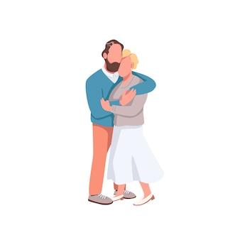 フラットカラーの顔のないキャラクターとデート。男は女とイチャイチャ。ロマンチックなバレンタインデー。異性愛者のカップルは、webグラフィックデザインとアニメーションの漫画イラストを分離しました