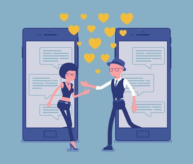 Знакомства из мобильного приложения, сопряжение на экране смартфона с чатом. мужчина, женщина вместе, встретить спутника жизни, службу социальной сети, символы любви сердца. векторная иллюстрация, безликие персонажи