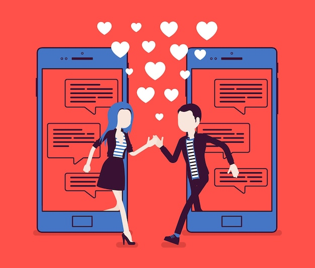 モバイルアプリケーションからのデート、チャットとスマートフォン画面でのペアマッチ