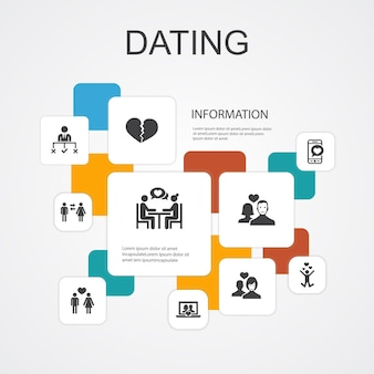 Dating infographic 10 line icons template. couple in love, fall in love, dating app, relations simple icons
